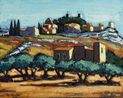 Jean-Claude Quilici Devant le mas Eygalieres | Landscape figurative painting | Artiste Galerie Mickaël Marciano Art Place des Vosges