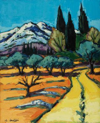 Jean-Claude Quilici Oliviers et cypres dans les Alpilles | landscape figurative painting | Artist Mickaël Marciano Art Gallery Paris