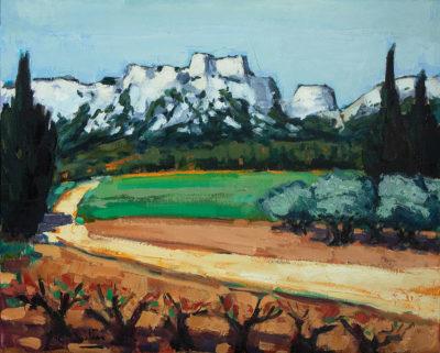 Jean-Claude Quilici Petit chemin aux Baux | Landscape figurative painting | Artiste Galerie Mickaël Marciano Art Place des Vosges