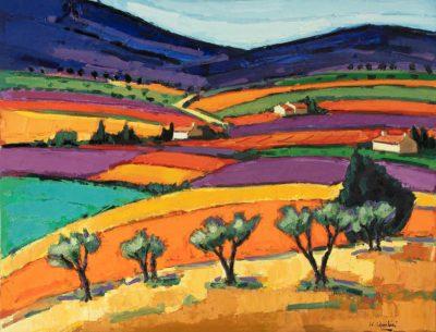 Jean-Claude Quilici Plein été sur le ventoux | Landscape figurative painting | Artiste Galerie Mickaël Marciano Art Place des Vosges