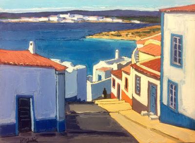 Jean-Claude Quilici Rue de village ferragudo Algarve | landscape figurative painting | Artist Mickaël Marciano Art Gallery Paris