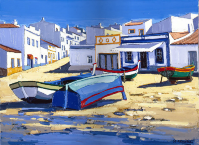Jean-Claude Quilici Sur la plage Alvor Algarve | Landscape figurative painting | Artiste Galerie Mickaël Marciano Art Place des Vosges