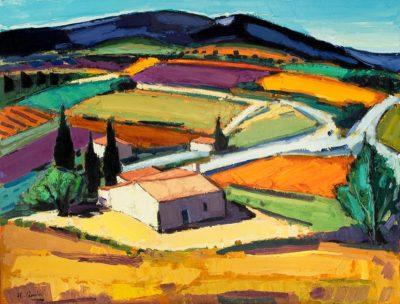 Jean-Claude Quilici Vue du village Aurel | Paysage figurative painting | Artiste Galerie Mickaël Marciano Art contemporain Paris