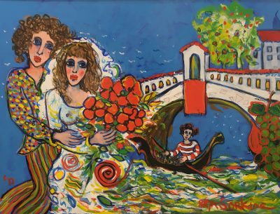 Raya Sorkine | Voyage d'amour| Chagall figurative painting | Artist Mickaël Marciano Art Gallery Place des Vosges