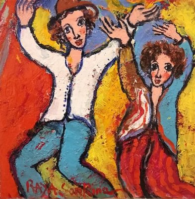 Raya Sorkine | Les danseurs | Chagall figurative painting | Artist Mickaël Marciano Art Gallery Place des Vosges
