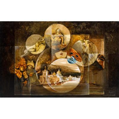 Roger Suraud Evocation de Venise | masque carnaval architecture | Galerie Mickaël Marciano Art contemporain Paris