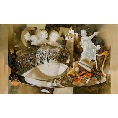 Roger Suraud Hommage aux compositeurs | Musique painting concert | Galerie Mickaël Marciano Art Place des Vosges