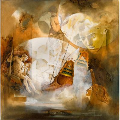 Roger Suraud La Grotte | Vaisseau bateau ghost classic painting | Mickaël Marciano Art Gallery Place des Vosges