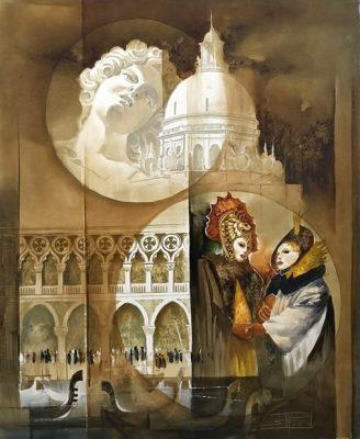 Roger Suraud La Salute | Architeture Venise Masque Carnaval | Galerie Mickaël Marciano Art Place des Vosges