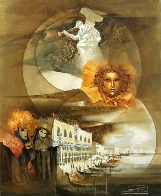 Roger Suraud Masque D'or | Venise carnaval | Galerie Mickaël Marciano Art contemporain Paris