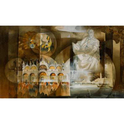 Roger Suraud Nuit de Venise | architecture sculpture classic painting | Galerie Mickaël Marciano Art Place des Vosges