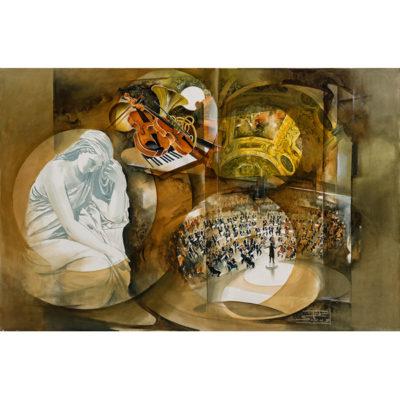 Roger Suraud Symphonie | Violon instrument de musique peinture classique | Mickaël Marciano Art Gallery Paris