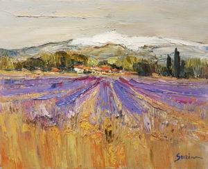 Jean-Paul Surin Lavandes au pied du Ventoux | Landscapes | Galerie Mickaël Marciano Art contemporain Paris