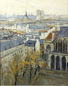 Jean-Paul Surin Les Toits et Notre Dame| Landscape Paris cityscape | Galerie Mickaël Marciano Art Place des Vosges