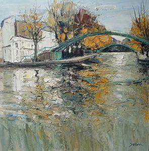 Jean-Paul Surin Reflets du Canal Saint Martin | Paysage | Galerie Mickaël Marciano Art contemporain Paris
