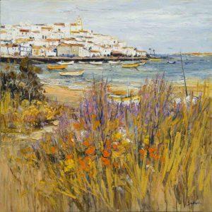 Jean-Paul Surin Village de l'Algarve| Paysage | Galerie Mickaël Marciano Art Place des Vosges